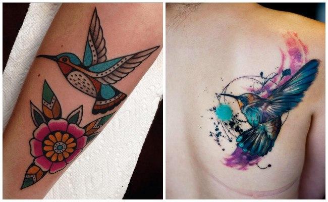 Tatuajes de colibríes con flores