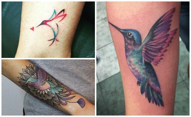 Tatuaje de colibrí en la mano