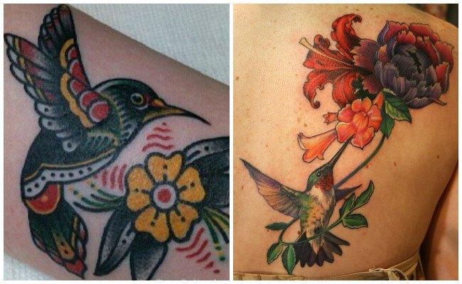 Tatuaje de colibrí en la muñeca