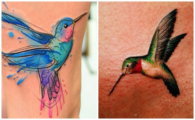 Tatuaje de colibrí en el pie