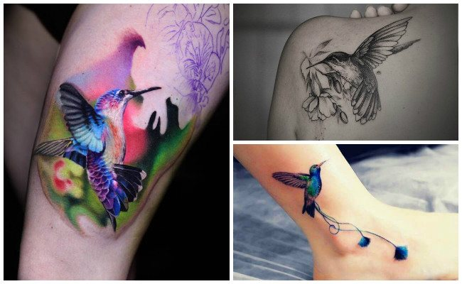 Tatuajes de colibríes en color