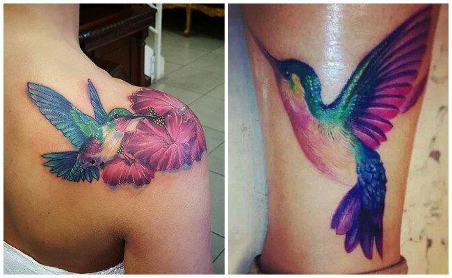 Tatuajes de colibreíes con flores