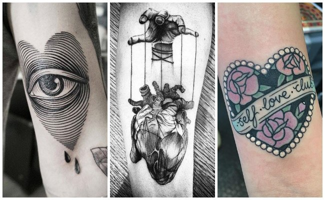 Tatuajes de corazones con iniciales