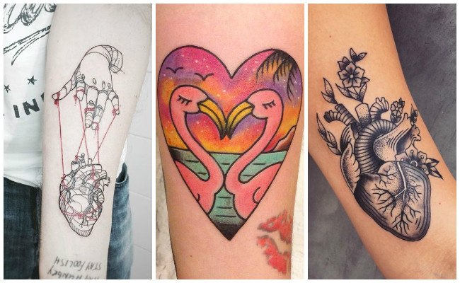 Tatuajes de corazones de colores