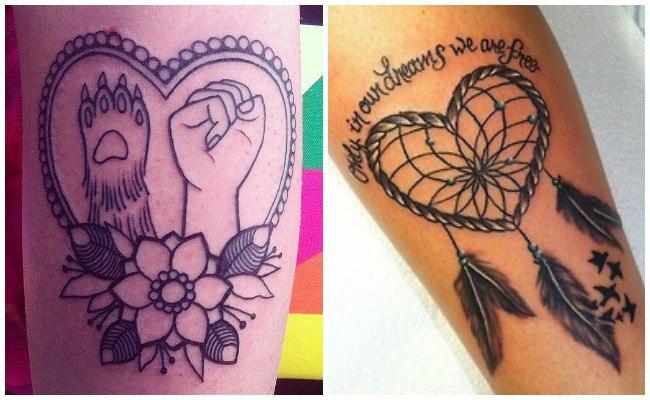 Tatuajes de corazones en el cuello