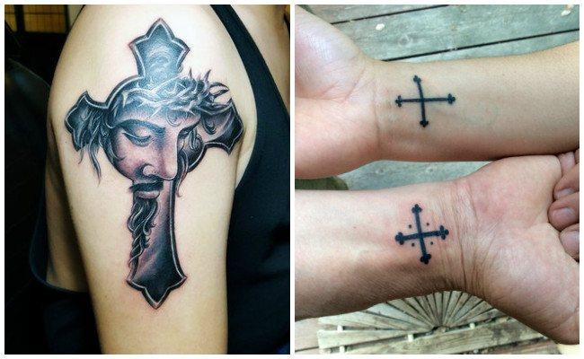 Tatuajes de cruces con rosas