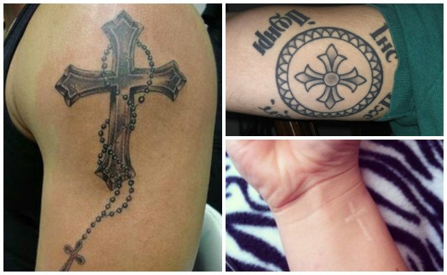 Tatuajes de cruces en la espalda