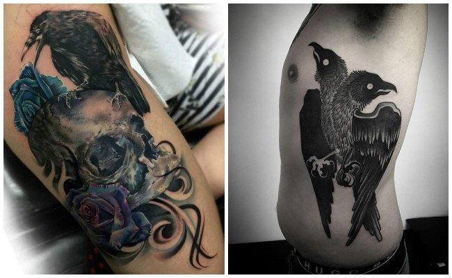 Tatuajes de cuervos en el cuello