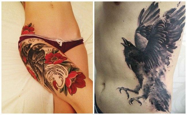 Tatuajes de cuervos en la espalda