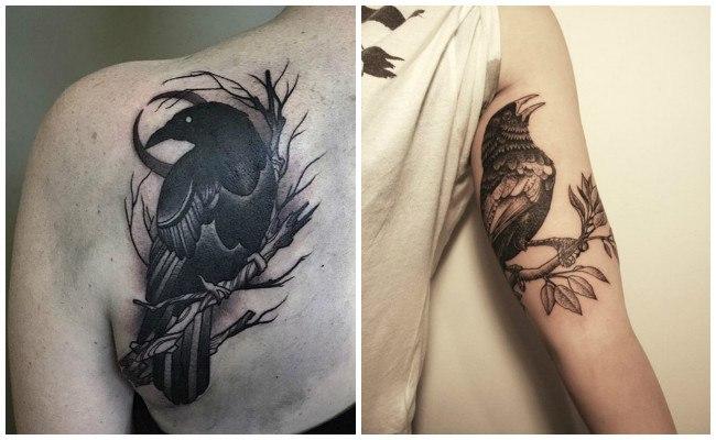 Tatuajes de cuervos góticos