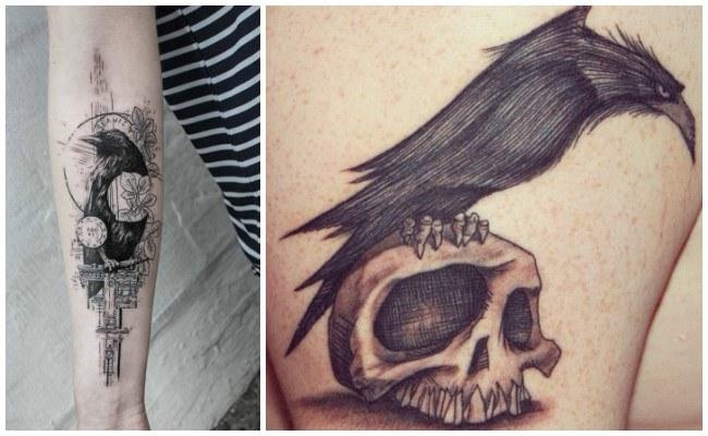 Tatuajes de cuervos en el hombro