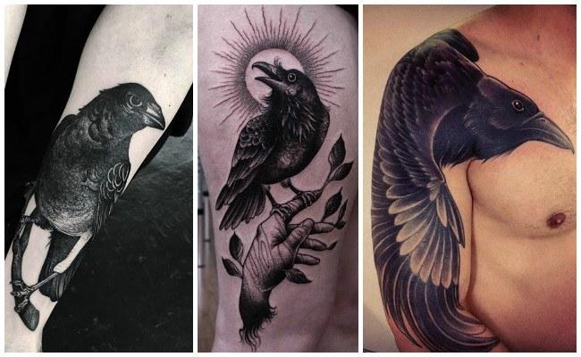 Tatuajes de cuervos en la mano