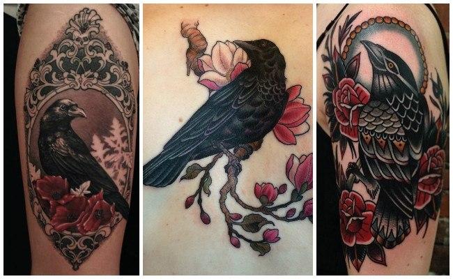 Tatuajes de cuervos volando