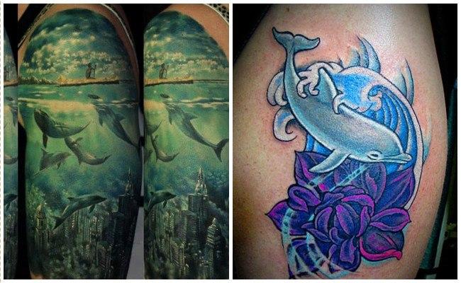 Tatuajes de delfines a color