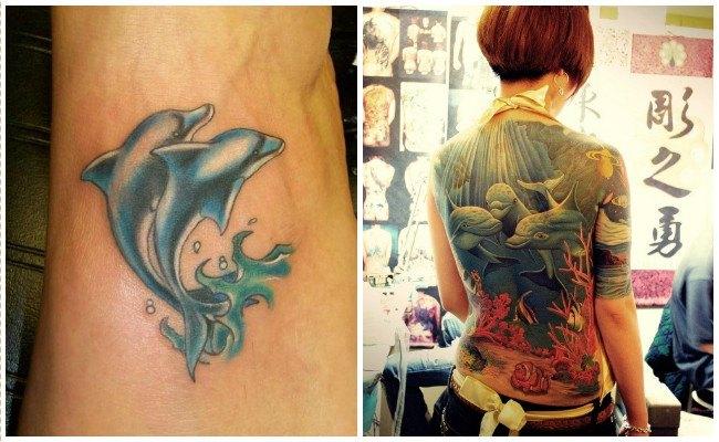 Tatuajes de delfines con iniciales