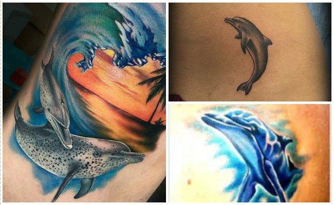Tatuajes de delfines en el brazo