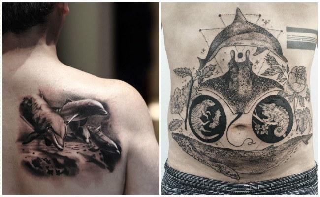 Tatuajes de delfines en el tobillo