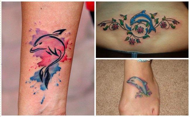 Tatuajes de delfines en la cadera