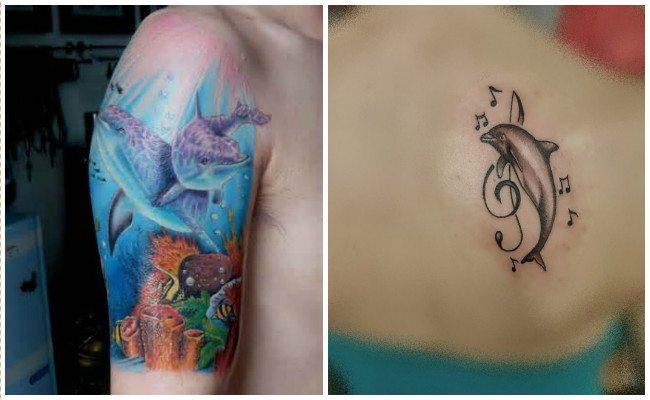 Tatuajes de delfines en la mano
