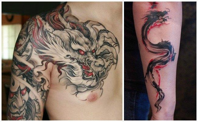 Tatuajes de dragones chinos en el brazo