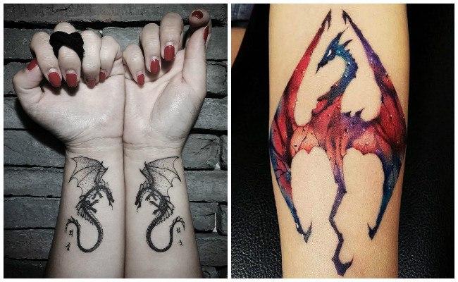 Tatuajes de dragones en la muñeca