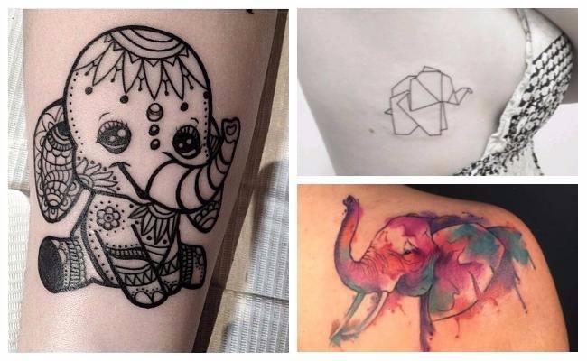 Tatuajes de elefantes en acuarela