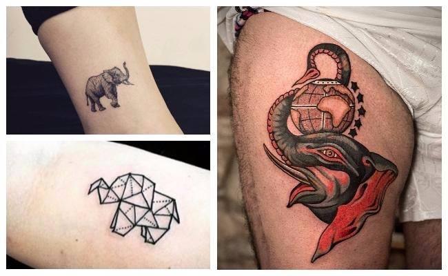Tatuajes de elefantes con la trompa hacia arriba