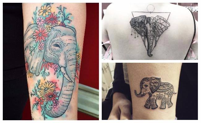 Tatuajes de elefantes femeninos