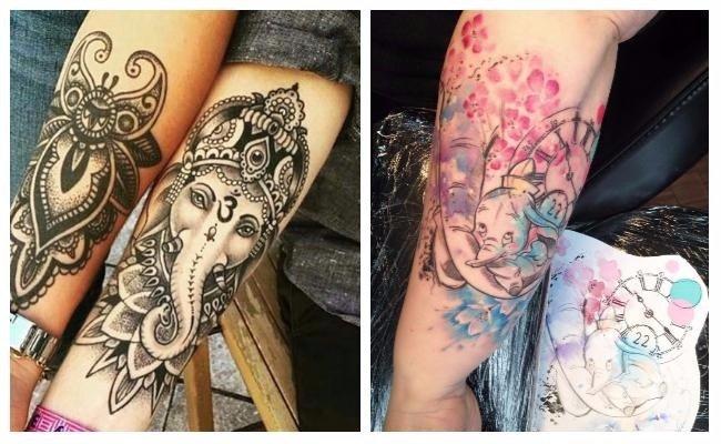 Tatuajes de elefantes hindúes pequeños