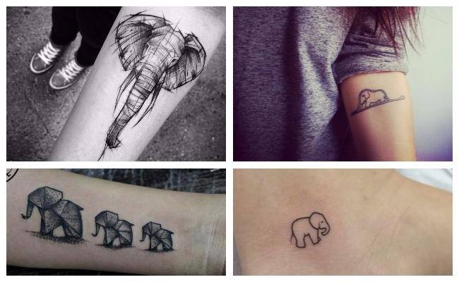 Tatuajes de elefantes origami