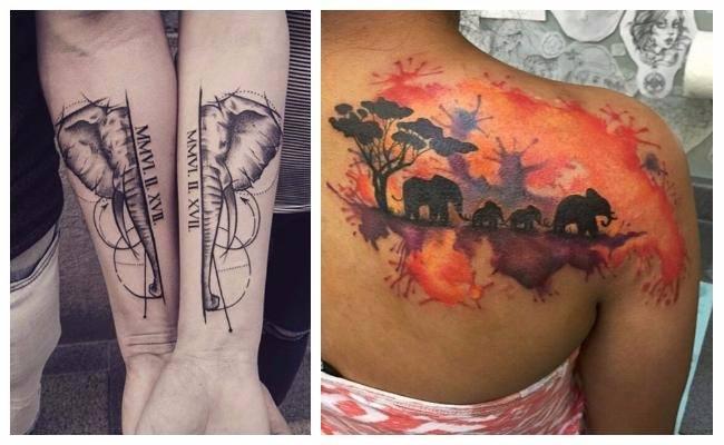 Tatuajes de elefantes siluetas