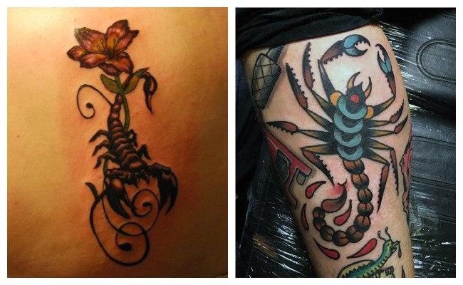 Tatuaje de escorpión en el brazo