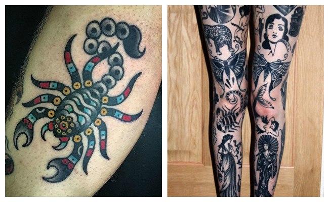 Tatuajes de escorpiones en la pierna