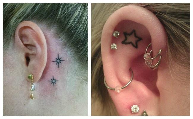 Tatuajes de estrellas detrás de la oreja