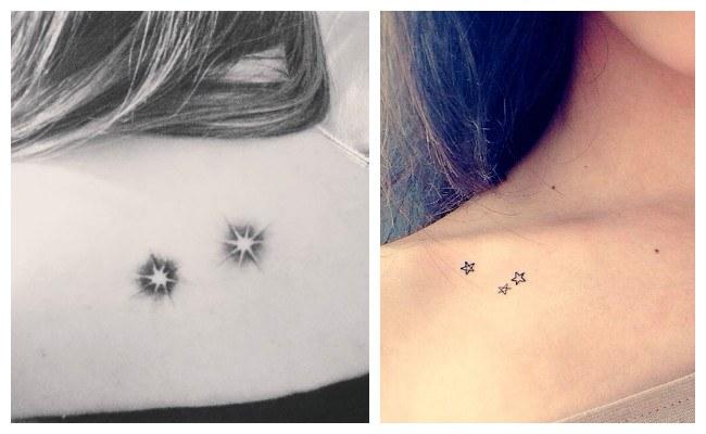 Tatuajes de estrellas en la clavícula