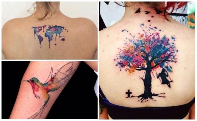 Tatuajes de flores tipo acuarela