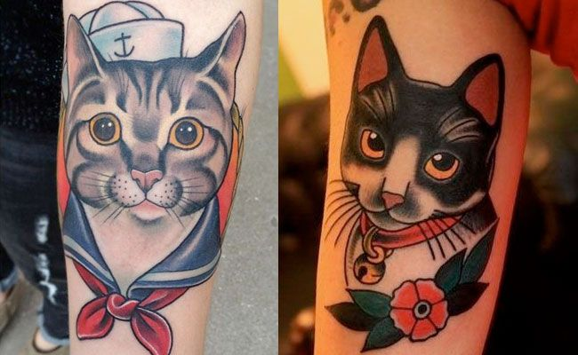 tatuajes de gatos old school