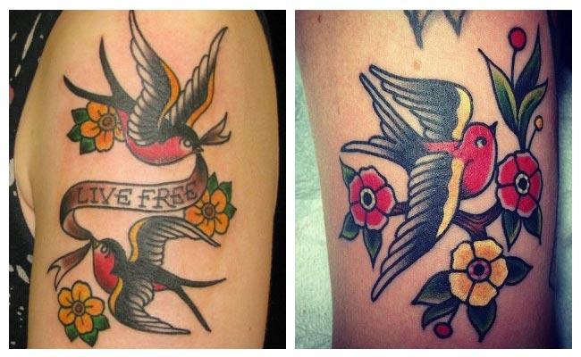 Tatuajes de golondrinas con flores