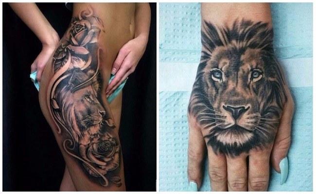 Tatuajes de leones a color