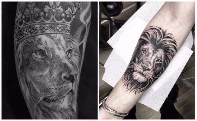 Tatuajes de leones con sus crías