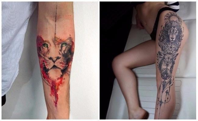 Tatuajes de leones en tribal