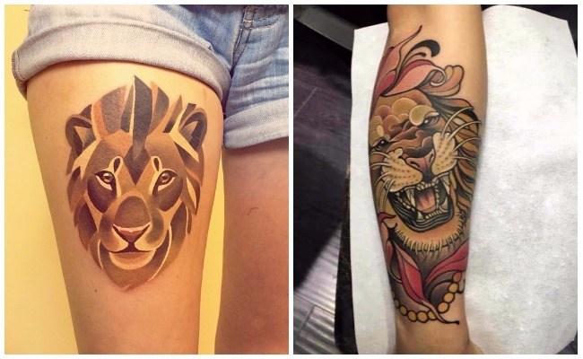 Tatuajes de leones modernos