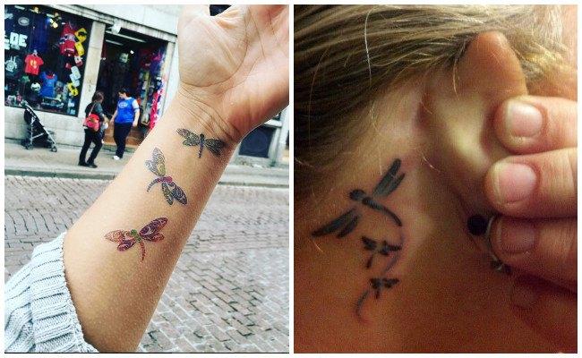 Tatuajes de libélulas en la pelvis