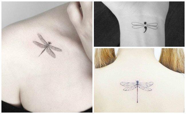 Tatuajes de libélulas en el cuello