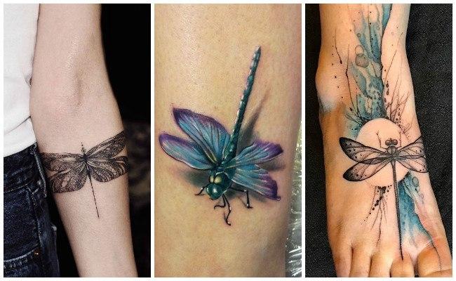 Tatuajes de libélulas con estrellas
