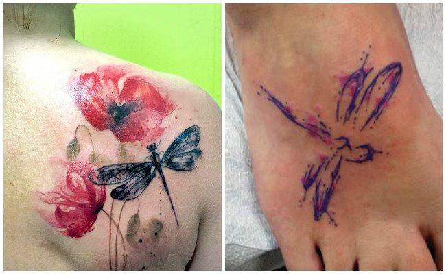 Tatuajes de libélulas con flores