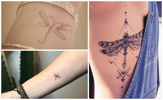Tatuajes de libélulas en la mano
