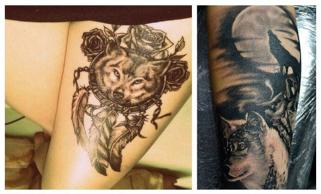 Tatuajes de lobos con atrapasueños