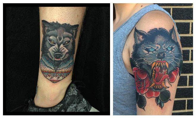 Tatuajes de lobos en colores