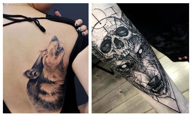 Tatuajes de lobos con calaveras